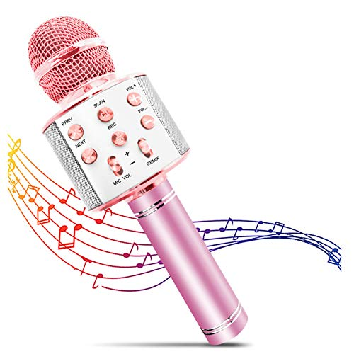 FILDANCO Wireless Karaoke Microphone for Kids, Bluetooth Portable Handheld Karaoke Mic Speaker Machine Christmas Birthday Home Party for All Smartphone and PC Best Gifts for Girls and Boys Champagne