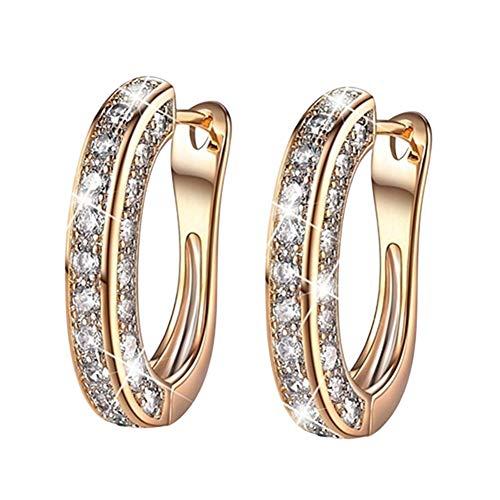 RIsxfh122 Pendientes Colgantes con Diseño De Diamantes De Imitación para Mujer, Pendientes De Aro, Joyería De Moda, Regalo Dorado