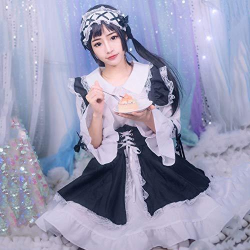 GACOSPLAY Disfraz de sirvienta de Estilo gtico de Lolita en Blanco y Negro Disfraz de Cosplay Vestido de Lolita Vestido de muje,S