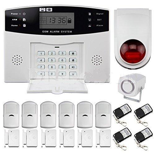 BW Système d'alarme anti-intrusion sans fil avec écran LCD Composition automatique de GSM: alarme GSM hôte+sirène extérieure+détecteur de mouvement PIR+détecteur de porte/fenêtre