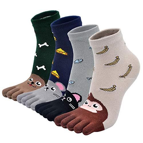 LOFIR Zehensocken Kinder Socken aus Baumwolle Fünf Finger Socken Bunt Gemustert Niedliche Mädchen Socken Tier Karikatur Kleinkind Witzig Sneaker Socken Größe 27-35, 4 Paare
