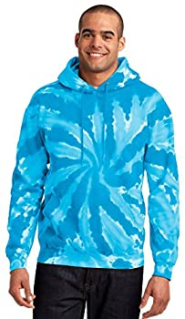 Port & Company Mens Essential Tie-Dye Pullover Hooded Sweatshirt 2XL Turquoise