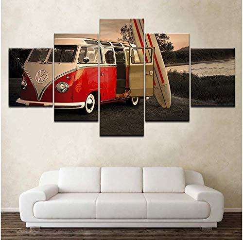 Kunstwerk Modern Home Wall Art Decor Foto HD Prints 5 Stuks Volkswagen Bus Auto Schilderij op Canvas Retro Poster 30x40 30x60 30x80cm frameloos