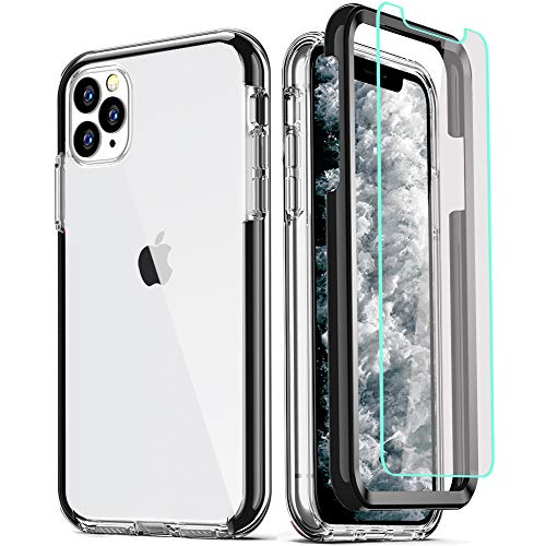 COOLQO Compatible with iPhone 11 Pro Max Case, and [2 x Tempered Glass Screen Protector] Clear 360 Full Body Coverage Hard PC+Soft Silicone TPU 3in1 Shockproof Protective Phone Cover Black
