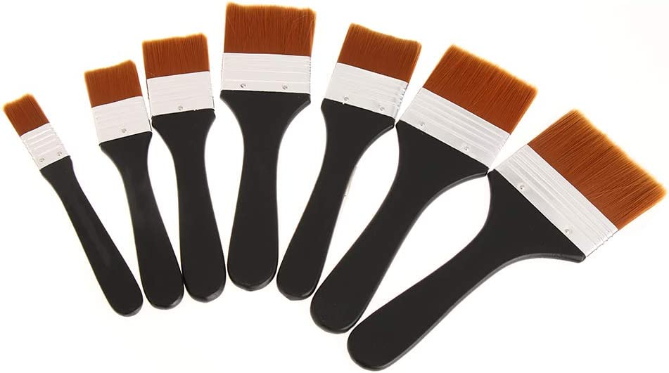 ARRIVEOK 7Pcs Flat Head Arlington Max 56% OFF Mall Paint Brush Long Art Han Sets Paintbrush