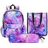 Vbiger Schulrucksack Mädchen Teenager Schultasche Kinder Rucksack Daypack 3 Teile Set für Jungen Schule und Freizeit Dunkelblau(Galaxienpulver)