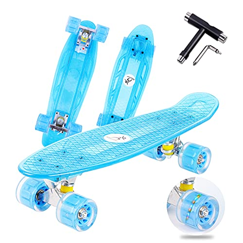 Colmanda Mini Cruiser Skateboard, 55cm 22inch Skateboard Tabla Coloreada Transparente, Completo Skateboard con cojinetes ABEC-7, Cruiser Retro Completo para Niñas Niños Adolescentes