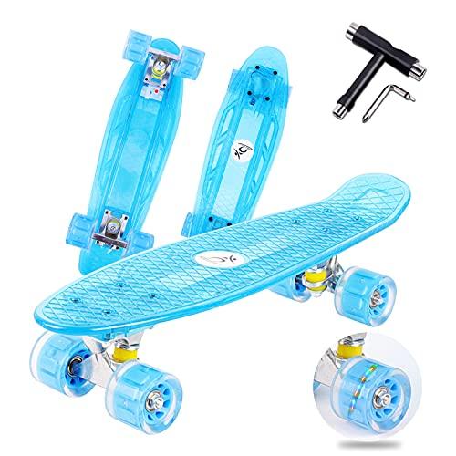 """Colmanda Skateboard Mini Cruiser, 22"""" 55CM Skateboard Completo con Ruote LED, Skateboard Mini Cruiser Completo con Cuscinetti ABEC-7, Skateboard Board Completo per Principianti Bambini e Ragazzi"""