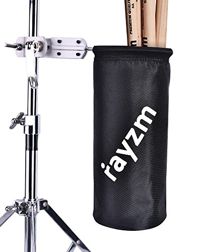 Rayzm Funda/Bolsa para baquetas, Nylon Oxford 1680D con enganche de aluminio para soporte de batería con diámetro de 1,5 a 3 cm. Capacidad de hasta 12 pares de baquetas
