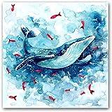 AS65ST12 Arte Keldog Poster Prints Animal de mar ballena Silueta arte de la lona de la pared for la decoración del hogar de la ballena azul acuarela pintura de la lona del cartel -50X50Cm No Frame Pos