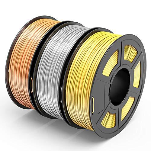 TECBEARS PLA Filamento de Impresión 3D, 1.75mm Seda Dorado+Plata+Cobre, Precisión Dimensional +/- 0.02 mm, 1kg Carrete, 3 Paquete ⭐