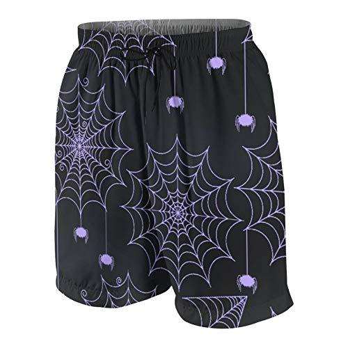 KOiomho Hombres Personalizado Trajes de Baño,Conjunto de telarañas Lindas y espeluznantes Estilo Pizarra,Casual Ropa de Playa Pantalones Cortos