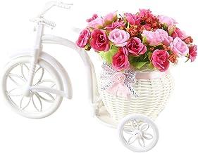 Homeofying - Maceta de ratán con flores artificiales, diseño de triciclo, para escritorio, escaparate o decoración de fiestas