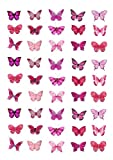 45x Pink Farfalle Edible Cake Toppers (Wedding, Birthday) Cupcake Topper Decorations by Cakeshop Basics