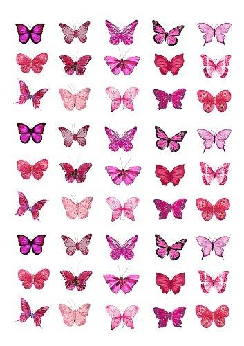 Cakeshop 45 x decoración para pasteles comestibles en forma de Mariposas de color Rosa