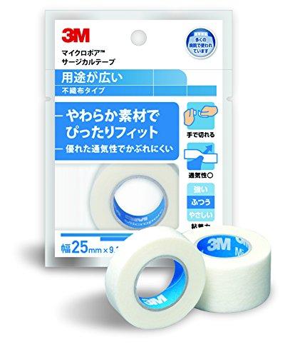 3M マイクロポア サージカルテープ 不織布 ホワイト 25mm幅x9.1m 1巻入り 1530EP-1