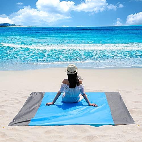 Sunnila Manta de Picnic de 210 x 200 cm, Alfombras de Playa Impermeable Anti-Arena portátil Alfombra de Picnic Plegable