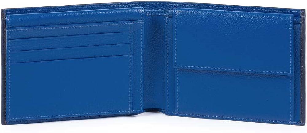 Piquadro splash, portafoglio, porta carte di credito, porta documenti, in pelle, blu, 12 cm PU1392SPLR/BLBL
