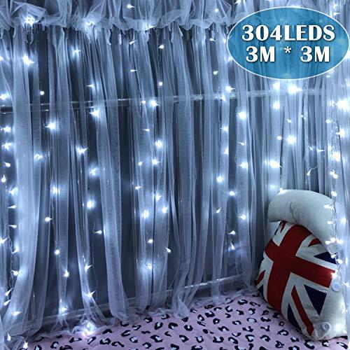 Ipow LED Lichtervorhang kaltweiß Außen & Innen, 3x3M 304 pcs Fenster Lichterkette mit Stecker, Strombetrieben, 8 modi, IP44 wasserdicht für Hochzeit Party Zimmer Garten Weihnachten