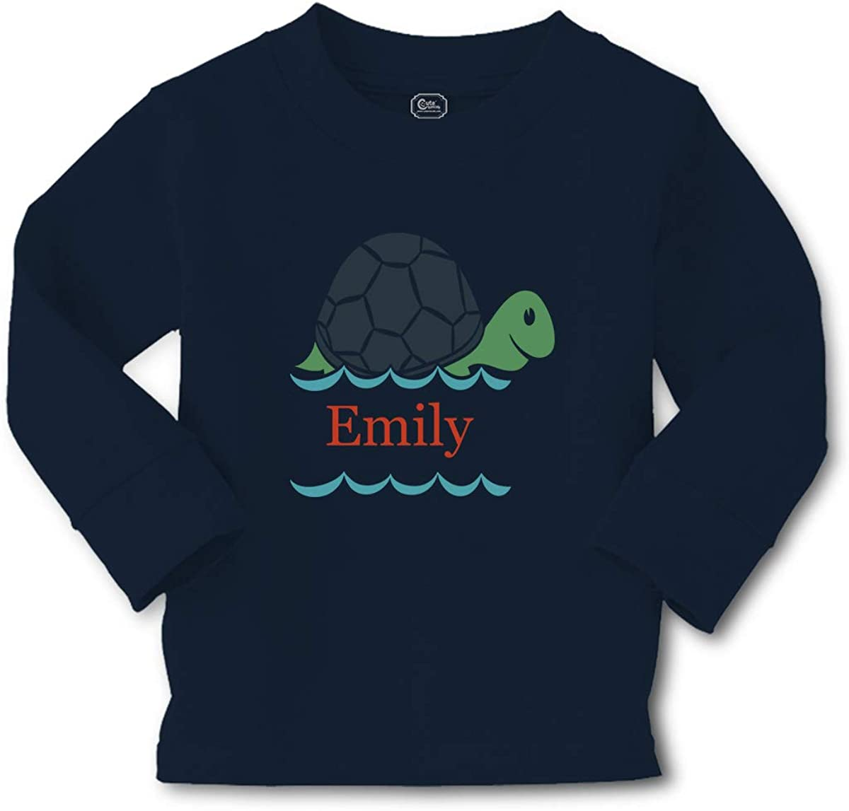 Custom Kids Long Sleeve T Shirt Personalized Name Turtle Sea Life D Cotton Boy & Girl Clothes Funny Graphic Tee Navy Personalized Text Here 3T