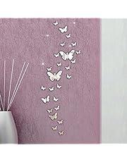 FriendGG Muurspiegel, 3D-spiegels, 30 stuks, acryl, afneembare vlindercombinatie, zelfklevende spiegelwandstickers, thuis, doe-het-zelf kunstmuurschildering, woonkamer, slaapkamer, kantoor, decor, kinderkamer, decoratie (30 stuks, zilver)