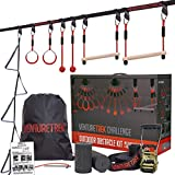 VENTURETREK Challenge 50FT Ninja Warrior Obstacle Course for Kids and Adults - Ninja Slackline for Backyard with Adjustable Obstacles Including Monkey Bars & Gym Rings - Kids Outdoor Workout Equipment