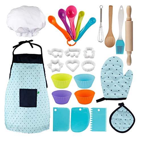 Rantoloys 26PCS Kind Cosplay Backen Kochen Home Küche Schürze Kuchen Zubehör Werkzeuge Anzug