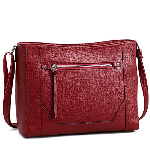 S-ZONE Women Genuine Leather Crossbody Bags Medium Cowhide Shoulder Handbag Ladies Purse