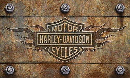 Harley-Davidson Embossed Flames Bar & Shield Entry Floor Mat, Brown 41EM4901