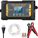 Enhanced Edition Car Battery Charger 12V/10A 24V/5A Lithium Lead-Acid LiFePO4 Compatible Automotive Smart Battery Charger Maintainer/Pulse Repair Charger Pack for Car ,Boat Motorcycle, Lawn Mower
