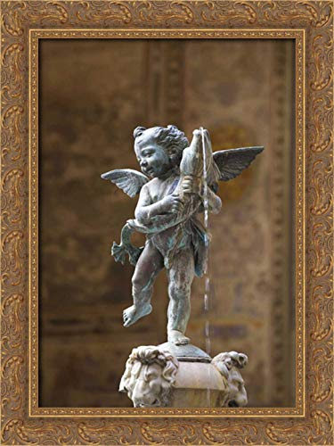 Delisle, Gilles 17x24 Gold Ornate Framed Canvas Art Print Titled: Italy, Florence Statue of boy with Dolphin