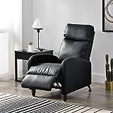 [en.casa] Sillón Relax Elegante Butaca Reclinable 102x60x92 cm Asiento cómodo Cuero sintético PU Negro