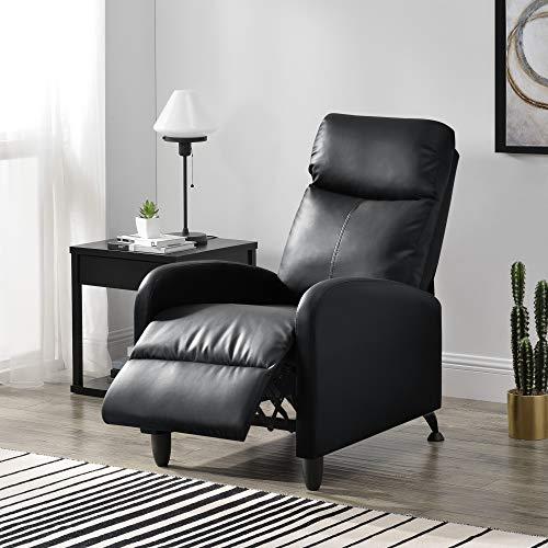 [en.casa] Polstersessel Bregenz Relaxsessel Relaxliege 102x60x92 cm Liegesessel Fernsehsessel Sessel mit Verstellbarer Rückenlehne TV Sessel aus Kunstleder Schwarz