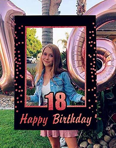 JeVenis Rose Gold 18th Birthday Party Photomaton Puntelli Cornice per foto del 18 ° compleanno Cornice per foto di compleanno