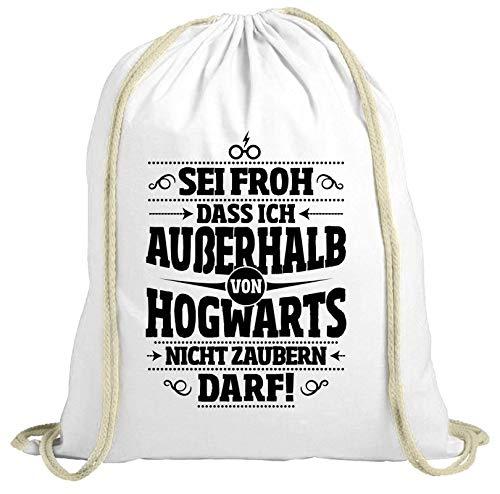 ShirtStreet Fanartikel Fan Kult Film natur Turnbeutel Rucksack Gymsac Außerhalb von Hogwarts, Größe: onesize,weiß natur