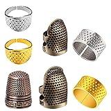 Set di 7 ditali da cucito regolabili per ditale, ditale in metallo, protezione retrò per cucito ricami