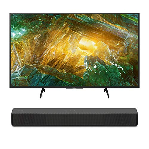Sony XBR-43X800H 43-Inch LED 4K Ultra HD HDR Android Smart TV (2020 Model) HT-S200F 2.1 Channel Soundbar Bundle (2 Items)