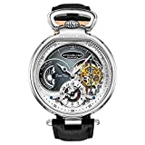 Stuhrling Orignal Mens Skeleton Watch Black Leather Luxury Dress Watch - Mechanical Watch Automatic Movement - Stainless Steel Silver Case Self Winding Analog Watches for Men