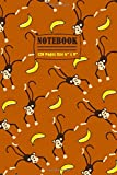 Notebook: Notebook Funny Monkey Gorilla Ape and Banana Pattern Journal to Take Notes Ideal Gift for Kids and Adults size 6' x 9' 120 lined pages