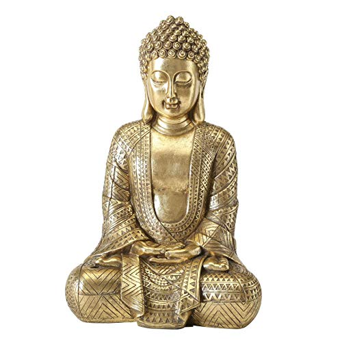 CasaJame Buddha – Statua Zen seduto grande per meditazione, Feng Shui decorazione in resina dorata, altezza 39 cm