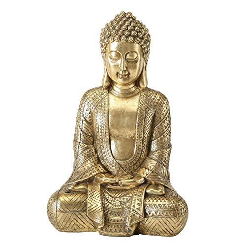 CasaJame Buddha - Figur Zen sitzend, Statue in groß zur Meditation, Feng Shui deko aus Kunstharz in Gold, H39 cm hoch