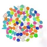 Yisscen Guijarros Brillantes, Piedras Luminosas, 90 Piezas de guijarros Fluorescentes, Concha de Estrella de Piedra Brillante, para acuarios Decoración de viveros de jardín (Color Mixto)