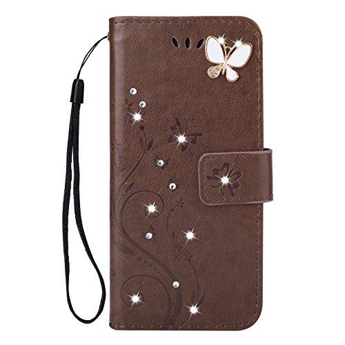 Homikon PU Leder Hülle Retro Schön Schmetterling Blume Schutzhülle für Mädchen Brieftasche Ledertasche Bling Glänzend Glitzer Diamant Handyhülle Etui Kompatibel mit Huawei P30 Lite - Braun