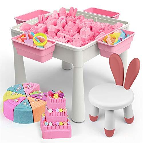 BESTSOON Spieltisch Inklusive Stuhl und Bauklotz Tabelle, Kinder Sicherheit Spielzeug Sand Tabelle Zauberraum Lehm Gummi Farbige Lehm Bausteine Toy Tisch für Vorschüler
