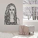 Hermosa chica tatuajes de pared belleza chicas negras damas negras peluquería interior vinilo ventana pegatinas arte mural moderno