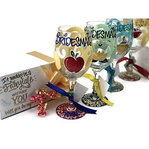 6376f55e09cc Hand Painted - Will you be my Bridesmaid Disney Princess Wine Glass with  Gift Box -