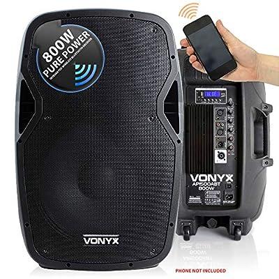"VONYX Active Powered DJ PA Speaker Wireless Bluetooth Audio Streaming 15"" 800W by Tronios BV"