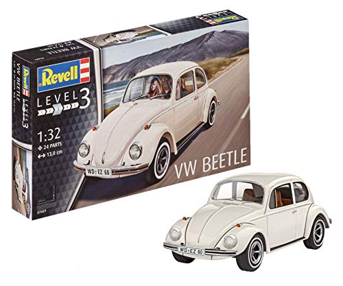 Revell Volkswagen Maqueta VW Beetle, Kit Modelo, Escala 1:32 (7681)(07681), Color Blanco, 13,0 cm de Largo