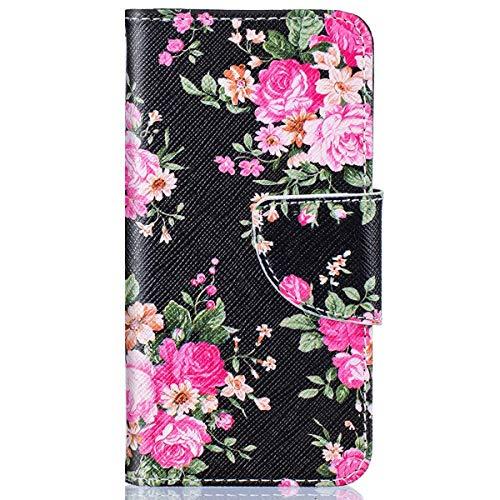 kompatibel mit Huawei Y5 II Hülle,Huawei Y6 II Compact Lederhülle,Huawei Y6 II Compact Tasche Leder Flip Hülle Brieftasche,Gelmat Muster Handyhülle Schutzhülle für Huawei Y5 II (Schwarz Rose Blumem)