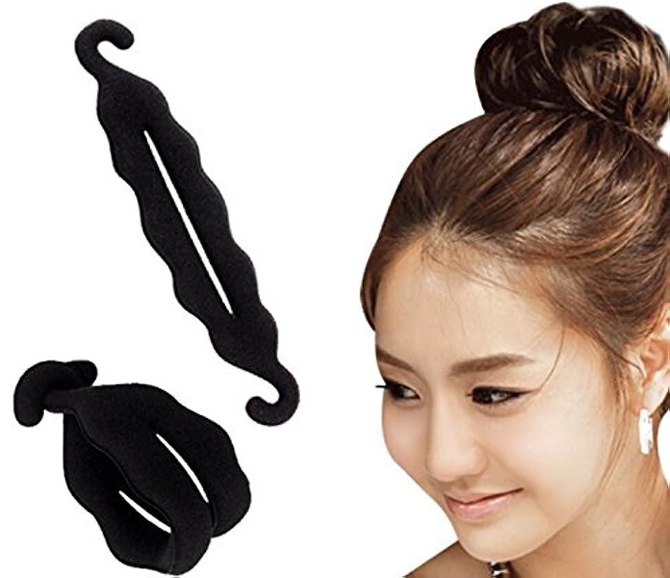 AKOAK 2 Pcs Black Color Hook Magic Beauty Hair Hairstyle Foam Sponge Donut Twister Hair Disk Ponytail Bun Maker Tie Upgraded